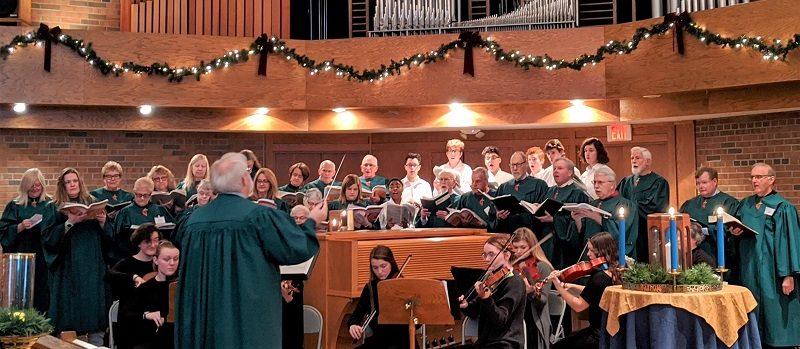 Chancel choir during service